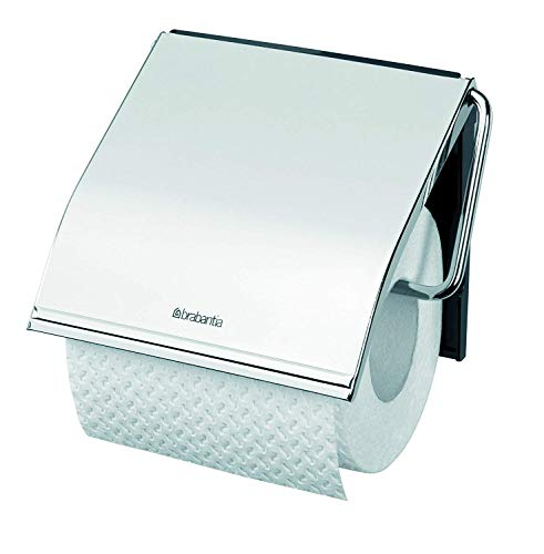 Brabantia 414589 Dispensador de Papel WC, Gris Brillante, 20 x 8 x 6 c