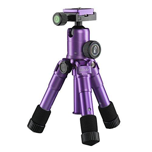 Mantona kaleido mini Foto-/Tisch- und Travelstativ (inkl. Kugelkopf mit Schnellwechselplatte und Transporttasche) light purple metallic