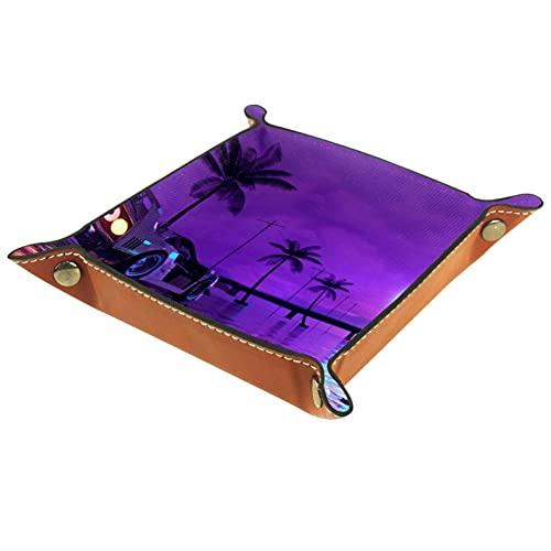 rogueDIV Bandeja plegable de cuero para dados con broches para DnD, juegos de mesa, almacenamiento de cielo morado