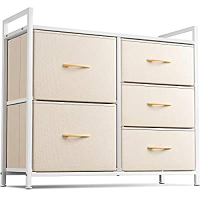 Cubiker Dresser Storage Organizer, 5 Drawer Dresser Tower Unit for Bedroom Hallway Entryway Closets, Small Dresser Clothes Storage with Sturdy Steel Frame Wood Top, Greige
