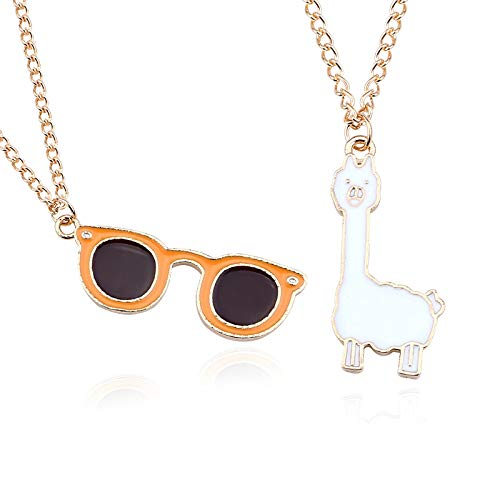 SUZHENA Halskette Schöne Cartoon Gras Schlamm Pferd Brille anhänger halsketten Mode Gold emaille alpaka Tier, Brille