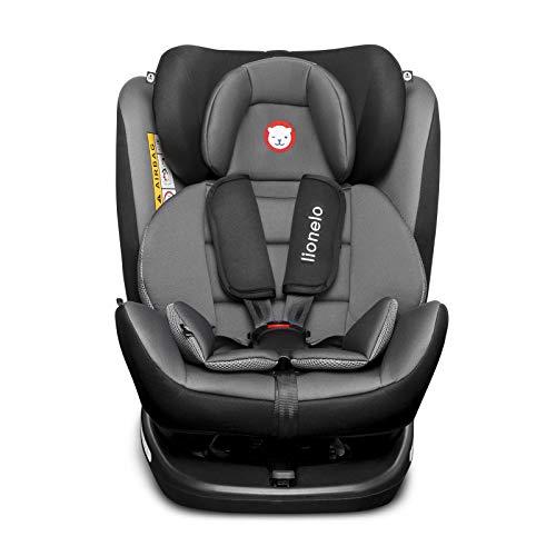 Lionelo Bastiaan Kindersitz, Autokindersitz ab Geburt, Gruppe 0+ 1 2 3 (0-36 kg), ISOFIX 360°, TÜV SÜD, ECE R 44/04 (Grau-Schwarz)