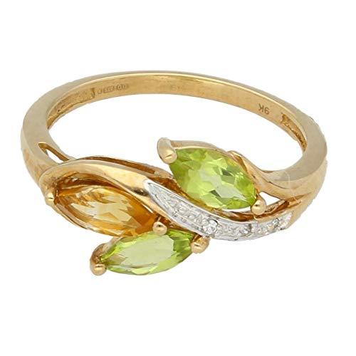 Womens Ring | 9Carat Yellow Gold Marquise Peridot, Citrien & Diamond Cluster Ring (Maat N 1/2) | Een van een soort sieraden