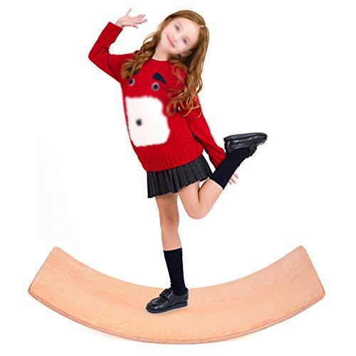 Kinder Holz Balance Board, Holzbrett, Gym Balance Board, Lange geschwungene Schaukel Schaukelbrett, Kinder Wobble Board