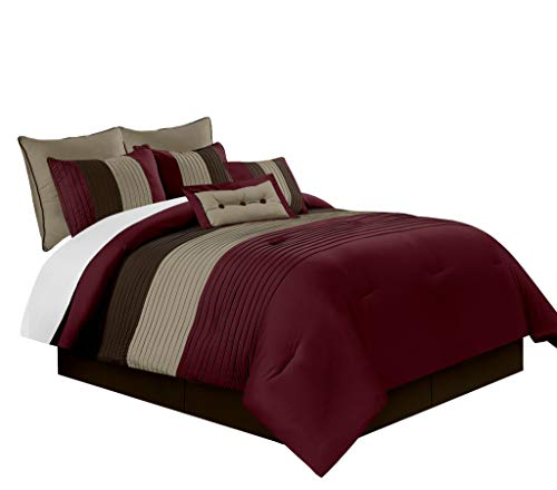 Chezmoi Collection 8-Piece Luxury Striped Comforter Set (Full, Burgundy/Brown/Coffee)