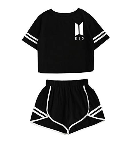 JLTPH Mujer KPOP BTS 2pcs Crop Top y Pantalones Cortos Set Cuello Redondo BTS Impresa Deportiva Corto Camisetas T-Shirt + Shorts Chándal Verano para Yoga Fitness