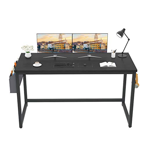 """Besiture Computer Desk 47"""" Black Desk Office Work Desk Study Writing Table with Storage Bag and Hook, Modern Simple Style Industrial Laptop PC Desk for Home Office, Workstation for Small Space"""