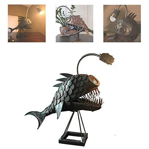 Angler Fish Lamp Art Lamp,Vintage Metal Shark Lamp with USB Port, Handmade Animal Table Lamp...