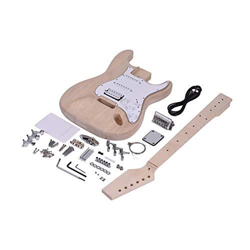 Guitarra de bricolaje para adultos para principiantes infantiles Guitarra eléctrica del estilo inacabado de bricolaje guitarra eléctrica Conjunto de madera de arce Cuerpo diapasón de palisandro