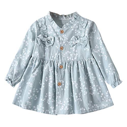 YUAN YUAN Mädchen Kleid, Kleinkind Baby Langarm solide Geraffte Blumen Blume Bogen gekleidet Kleidung