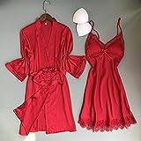 IAMZHL Albornoz Kimono para Mujer Sexy Blanco Novia Dama de Honor Conjunto de Bata de Boda Ajuste de Encaje Ropa de Dormir Ropa Casual para el hogar Ropa de Dormir-Red Robe Set 3-3-M