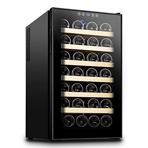 LRXGOODLUKE Wijnkoeler, koelkast, wijnkoelkast voor 28 flessen, 12-18 °C, geschikt voor persoonlijk kantoor, gezinskamer, eetkamer, keuken
