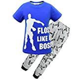 Floss Like a Boss T Shirt and Pants for Boys All Over Gaming Black White Cotton Short Tshirt Pants Set (Blue, 160(9-10Years))