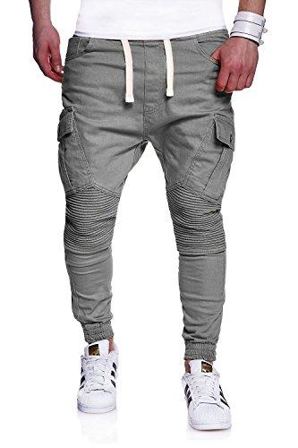 MT Styles Biker Jogger-Jeans Chino Hose RJ-2276 [Grau, W32]