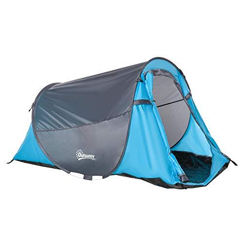 Outsunny Pop up Zelt für 1-2 Personen Campingzelt für 3 Jahreszeiten Polyester Glasfaser Blau+Grau 220 x 108 x 110 cm