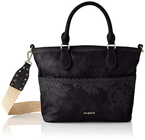Desigual PU Hand Bag, Borsa a Mano. Donna, Nero, U