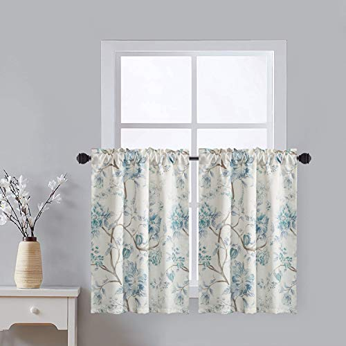 LEEVA Half Window Curtains for Dining Room Bathroom, Rod Pocket Watercolor Floral and Branches Design Elegant Drapes Tiers for Guest Room Door Head, 2 Panels, 30x36, Blue