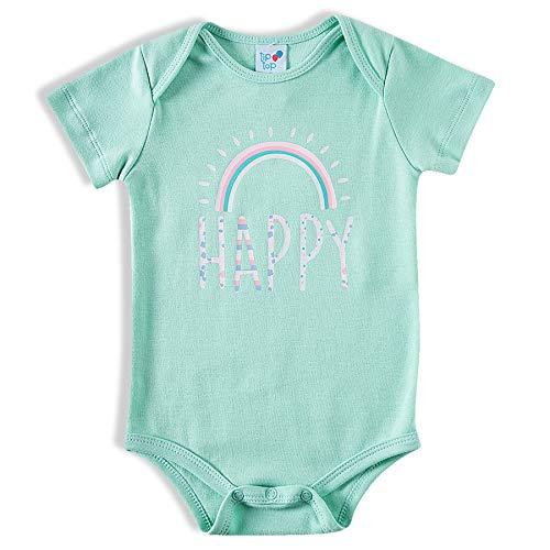 Body Manga Curta Suedine Happy, Tip Top, Bebê Menina, Verde Água, P