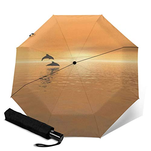 Dolphin,Sun & Rain Travel Umbrella - Lightweight Compact Umbrella with UV Protection for Men and Women Multiple Colors