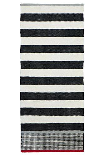 Jute & Co, Ischia, Tappeto Tessuto A Mano, Nero (Nero/Bianco), 60 x 90 cm
