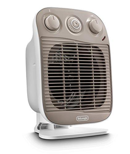 "DeLonghi HFS50D15 Portable Bathroom Heater, 6""w x 9""d x 13""h, White & Grey"