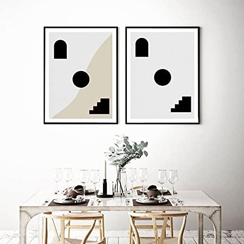 Póster de arco nórdico Boho negro y gris con escalera abstracta en lienzo, impresión artística de pared moderna para sala de estar, decoración del hogar (50 x 70 cm) x2 sin marco