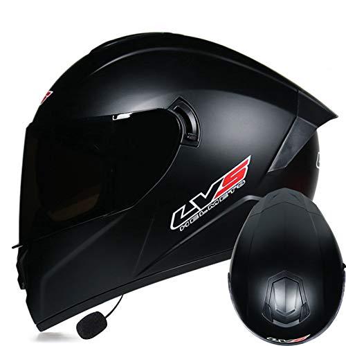 Casco De Moto Integral Casco De Motocicleta Con Personalidad De Cuatro Estaciones Cascos Bluetooth Moto Adecuado Para Motocicletas De Carreras/Campo A TravéS S-XL (55-62 CM)