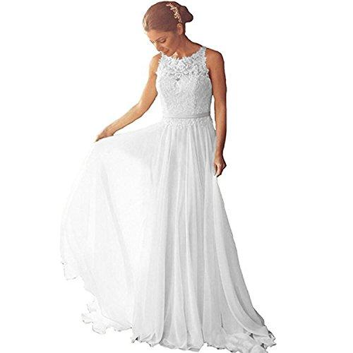 Aurora dresses Damen Chiffon Hochzeitskleider Brautkleider Spitze Elegant Lange Brautmode(Weiß,50)