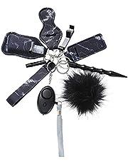 10 stuks/set zelfverdediging zelfbescherming wollen bol luid alarm noodlicht LED raambreker sleutelgesp sleutelhanger (grijs)