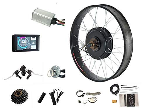 Fat Electric Bike Kit 60V/72V 2000W Electric Fat tire Snow Bike Rear Wheel Hub Motor Kit with Sabvoton sine Wave Controller, TFT UCK1 Color Display,7-Speed flywheel and Torque arm (26inch4.0 Rear)