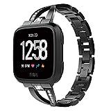TiMOVO Cinturino Orologio per Fitbit Versa/Versa Lite/Versa 2 in Acciaio da con Sgancio Rapido, Accessori Orologio Fitbit Versa/Versa Lite/Versa 2, Cinturino per Accessori Smartwatch - Ne
