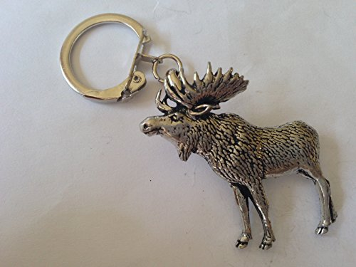 A47 Standing Moose made of fine English Pewter on a snake keyring Handmade with prideindetails gift packed handmade in sheffield