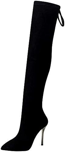 Sixminyo botas largas botas de tacón Alto sobre la Rodilla (Color   negro, Talla   36)