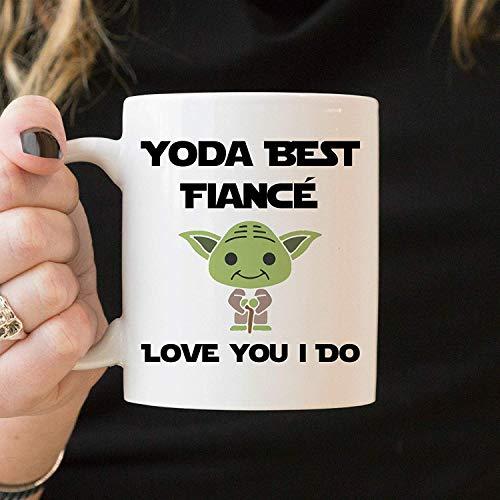N\A Dason Yoda Best Fiance Love You I Do, Mejor Taza de prometido, Regalo de cumpleaños de prometido, Taza Blanca de 11 onzas, Divertida Taza de café de prometido 920450