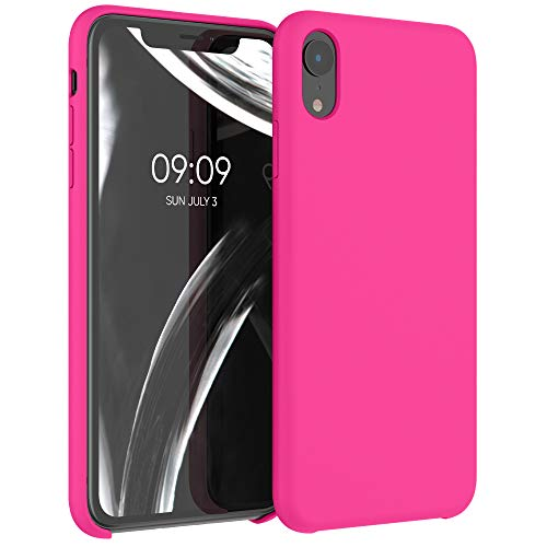 kwmobile TPU Silicone Case Compatible with Apple iPhone XR - Case Slim Protective Phone Cover with Soft Finish - Neon Pink