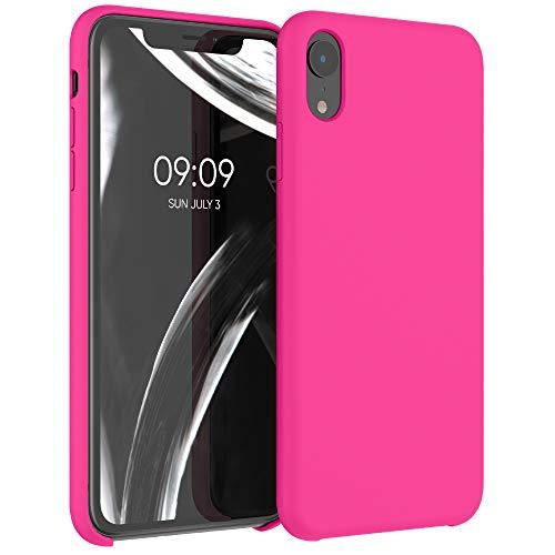 kwmobile Hülle kompatibel mit Apple iPhone XR - Handyhülle gummiert - Handy Hülle in Neon Pink