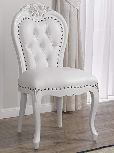 SIMONE GUARRACINO LUXURY DESIGN Chaise Amalia Style Baroque Moderne Blanc laqué et Feuille Argent Similicuir Blanc Boutons Crystal SW