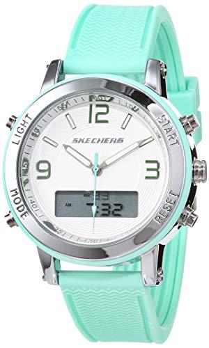 Skechers Reloj Analógico-Digital para Mujer de Cuarzo con Correa en Silicona SR6001