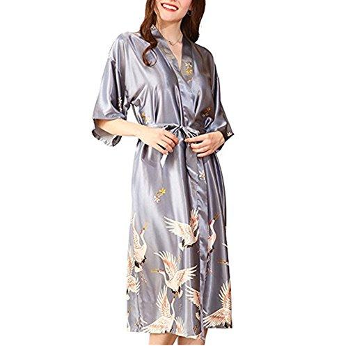 Morbuy Vestido Pijama Mujer Kimono Corto Bata de Satén Kimono Satén Bata Albornoz Camisón (L, Gris) 🔥