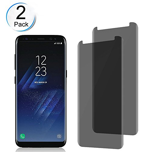 Samsung Galaxy S8 Anti - Spy Tempered Glass Screen Protector ,Loopilops[9H Hardness][3D Curved][No Bubble][Anti-Scratch]Privacy Glass Screen Protector Compatible with Samsung Galaxy S8 (2-Pack)