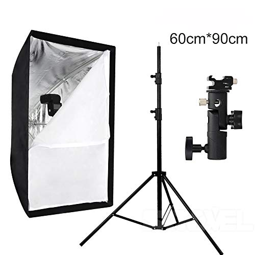 QWERTOUY Draagbare Softbox 60 * 90 60x90cm Paraplu Softbox Reflector+Flash bracket+Light Stand voor Flash Speedlight