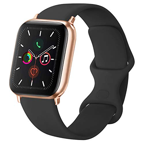 ATUP Cinturino Compatibile per Apple Watch Cinturini 38mm 42mm 40mm 44mm, Cinturino di Ricambio in Silicone Morbido per iWatch Series 4, Series 3, Series 2, Series 1 (03 Black, 38mm/40mm-S/M)