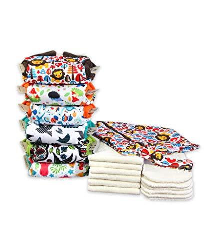 Petit Lulu 6 AIO Pañales de Bolsillo de Tela con Insertos + Bolsa de Pañales Impermeable Incluida   Paquete de Pañales de Tela   Fluffy Organic   Botones de Presión   Reutilizable y Lavable