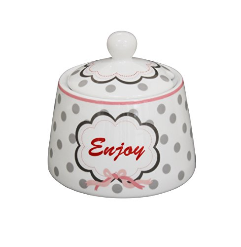 Krasilnikoff SGB41 - Happy Jar - Zuckerdose - Enjoy - Porzellan - weiß/grau