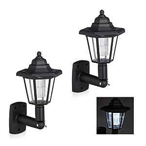 Relaxdays, Negro Set de Dos farolas solares LED, Lámparas de Exterior, Ahorra energía, Impermeable