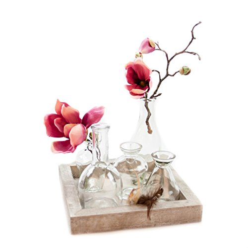 Glaskönig Vasen-Set, Geschenkset auf einem Holzbrett | Kleine Mini Blumenvasen als Tischdeko mit 5 Glasflaschen | Mini Vasen Set für einzelne Pflanzen oder Kunstblumen ganzjährig als Dekoration