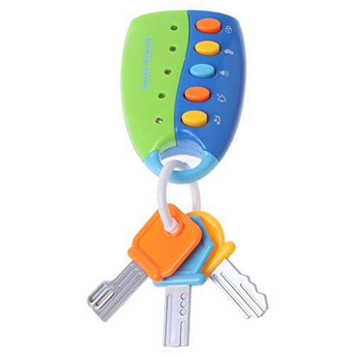 qingqingR Baby Spielzeug Fernbedienung Autoschlüssel Modell Puzzle Früherziehung Kinder Musik Schlüssel Spielzeug Blau 1 Stück