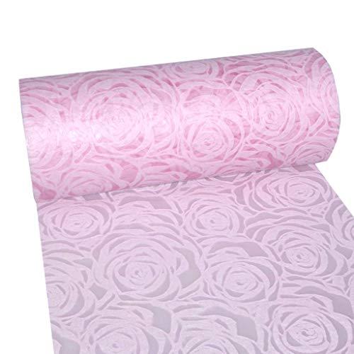 Dekoflor  Tischband Tischläufer Tischdeko einzigartiges Rosen Design (Wasserfest, Lotuseffekt, samtige Oberfläche, 25 m Rolle, 30 cm Breite, 100% Nylon), Rosa
