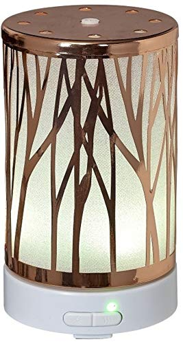 Aromar Ultrasonic Essential Oil Diffuser for Aromatherapy - LED Lit Glass Water Tank with Vibration Diffusion - Metal Branches (Copper Trees)