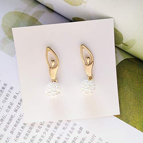 Chwewxi Pendientes de la Bailarina de la Moda Japonesa y Coreana Pendientes Temperamento Simple Grupo de Perlas sin Oreja Perforada Pendientes de Clip de Oreja, par de Pendientes